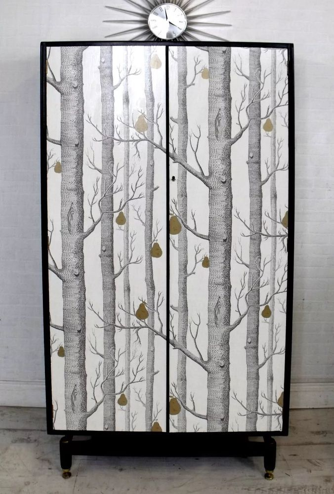 Stunning Upcycled Mid Century G-Plan Papered Wardrobe with Woods & Pears