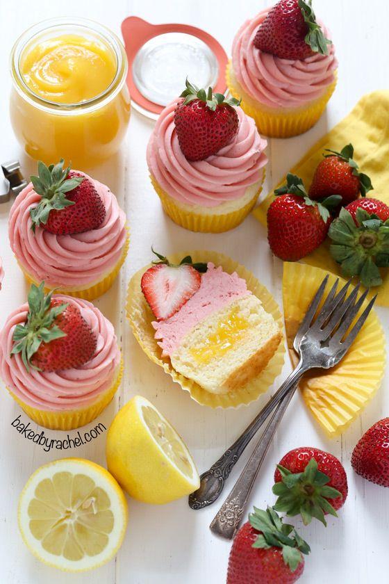 Moist strawberry lemonade cupcakes with lemon curd filling. Recipe from @Rachel {Baked by Rachel}