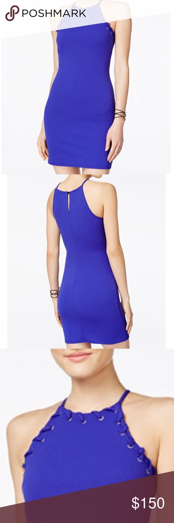 Royal blue high neck bodycon dress Gorgeous and unique royal blue body con dress. Exquisite high neck with laced sides. Thick material and super flattering on Topshop Dresses Mini