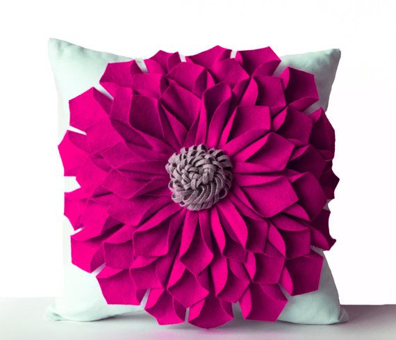 Felt Flower Pillow Cover Fuchsia Gray White Pillow by AmoreBeaute