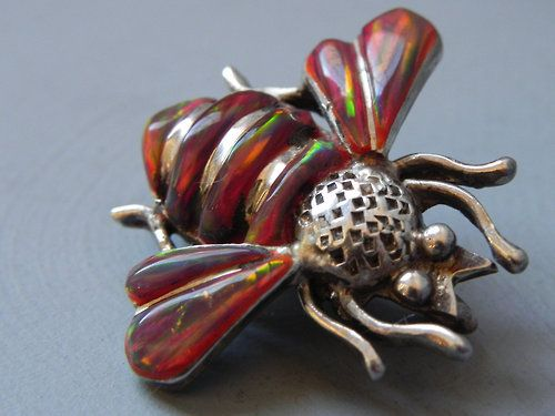 Red opal bee, Victorian sterling silver brooch.: