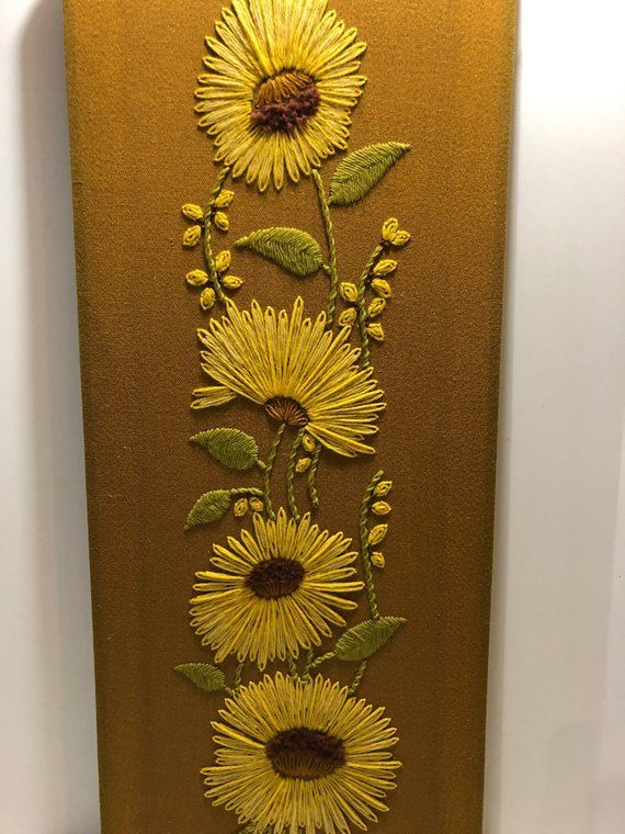 Vintage Medium Size Crewel Wall Hanging Hand Embroidered Yellow Green Sunflowers Golden Rod Mustard Vert Embroidery And Stitching Hand Embroidered Wall Hanging