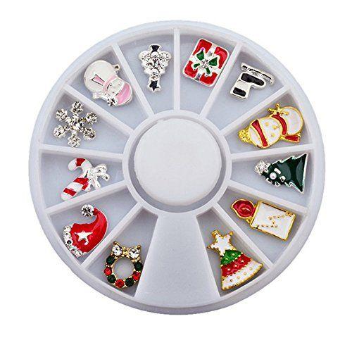 MJARTORIA Boite Bijoux Ongles Deco Noël 3D Nail Art Manucure Différents 12 Formes: Matériel:Alliage, Diamètre: 6cm Fantaisie truc pour vous…