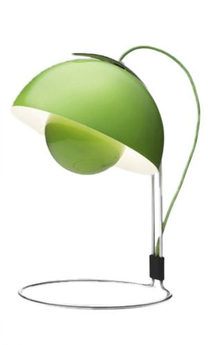 Green Flower Pot Table Lamp by Verner Panton: Pots Tables, Table Lamps, Flowerpot Vp4, Flowerpot Tables, Green Flowerpot, Flower Pots, C Green, Tables Lamps, Green Flowers
