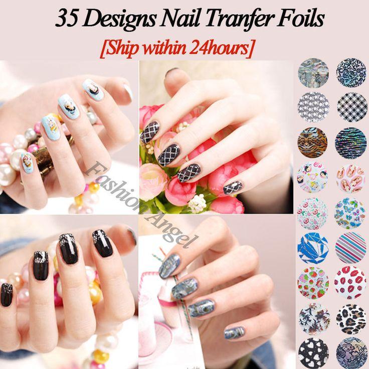 35Designs Nail Transfer Foil Sticker,Hot Sale12pcs/lot Plume Flower Cartoon Nail Art  Decorations,Nail Beauty Tips Accessories US $8.50