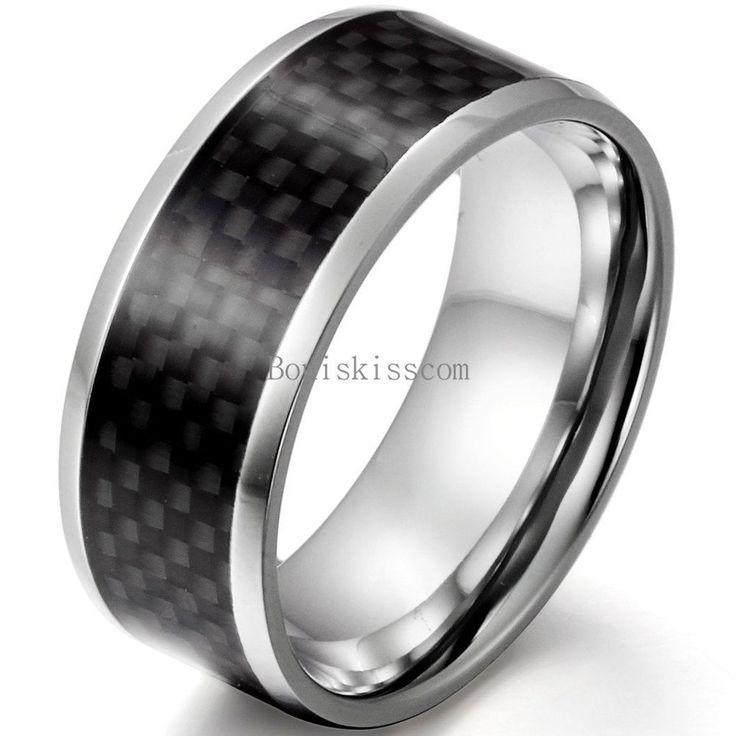 Men's Stainless Steel Black Carbon Eternity Ring Engagement Wedding Band 9mm #UnbrandedGeneric #Band