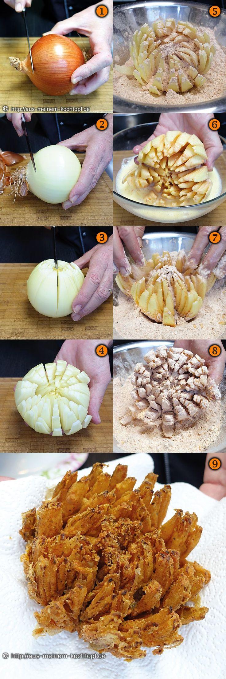 Die knusprige Zwiebelblume - Der perfekte Snack zum Grillen und dippen ist diese knusprige Zwiebelblume. Ein einfaches Rezept mit Bilderfolge für eine Schritt für Schritt Anleitung.