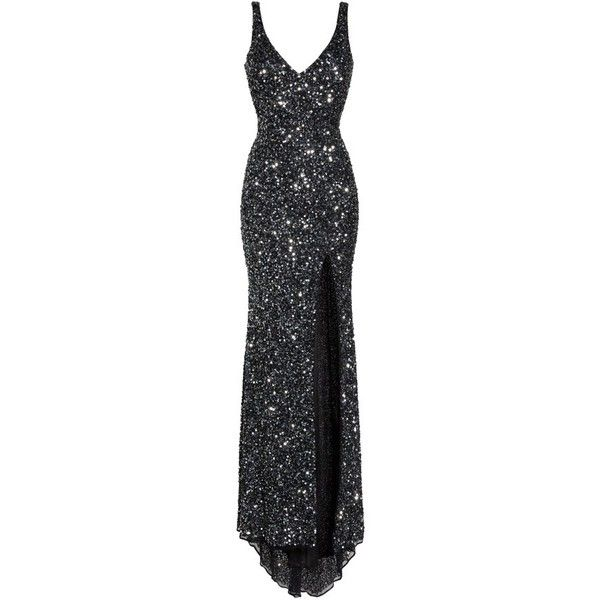 Women's Mac Duggal Sequin Slit Gown ($338) ❤ liked on Polyvore featuring dresses, gowns, black, beaded evening gowns, slit dresses, red carpet dresses, scoop back sequin gown and beaded dresses