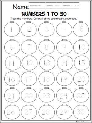 Free Christmas ornament math sheet for practicing number writing 1 to 30.  Students will also practice skip counting by 2s.  Great for Kindergarten.