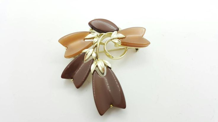 Lisner Shades of Autumn Brooch Golden Brown Colors #brooch #jewellery