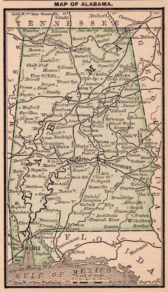 ANTIQUE MINIATURE MAP OF ALABAMA. | eBay! | state maps, state ...