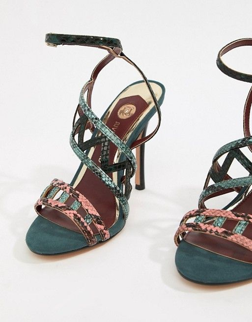8c8a7e7c4b155a River Island caged heeled sandals in green in 2019