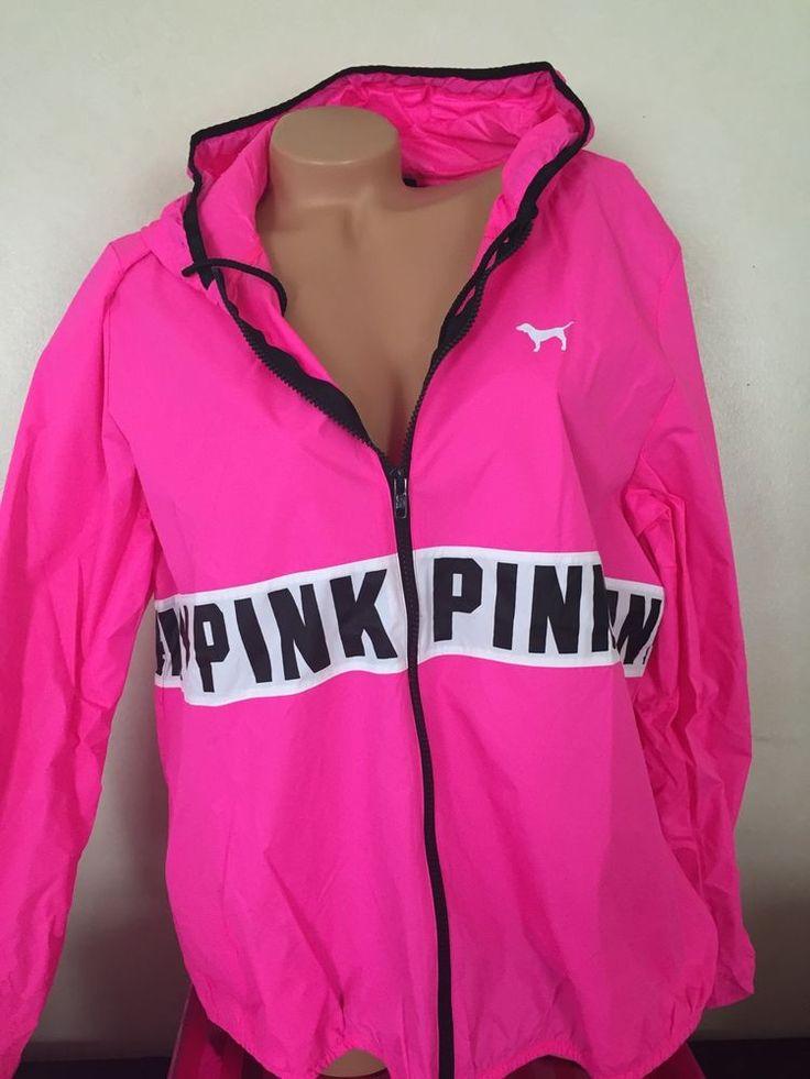 Victorias Secret Pink Windbreaker Hoodie Full Zip M/L NWT in Clothing, Shoes & Accessories | eBay