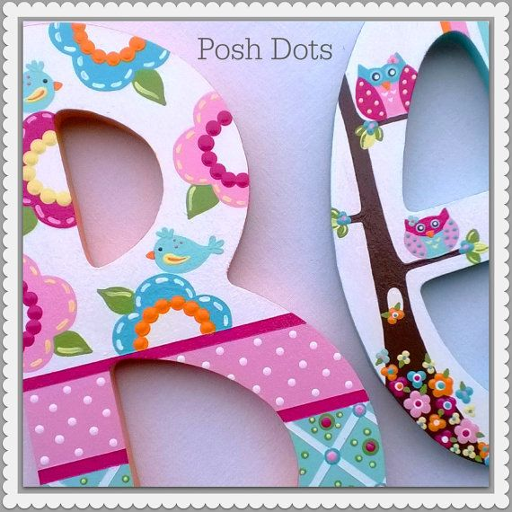Hand Painted Decorative Wooden Letters por PoshDots en Etsy
