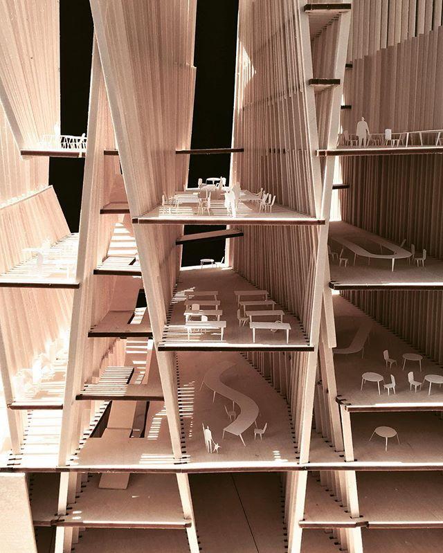 Library as stacked #basilica. #model #wood #library #gsapp #columbiagsapp …