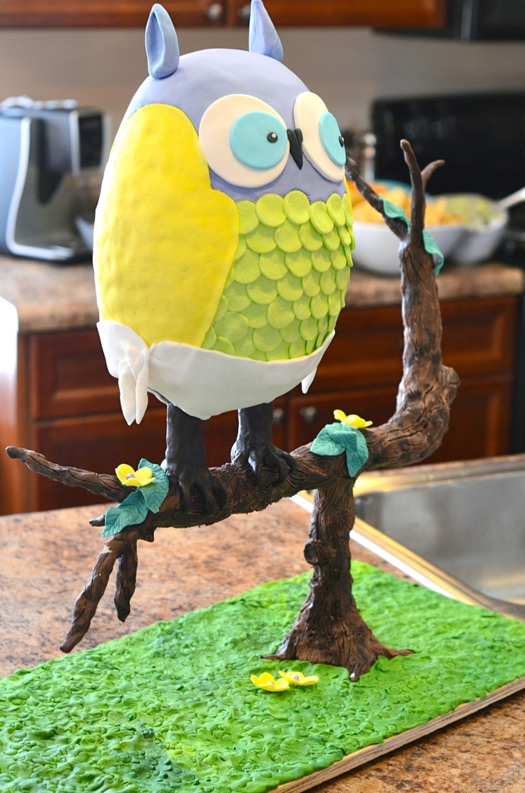 Beach Baby Shower Owl Cake - The Beach family welcomes a new baby boy, his nursery is decorated with owls. This cake was for the shower to match. Dark Chocolate Cake, Swiss Meringue Buttercream.