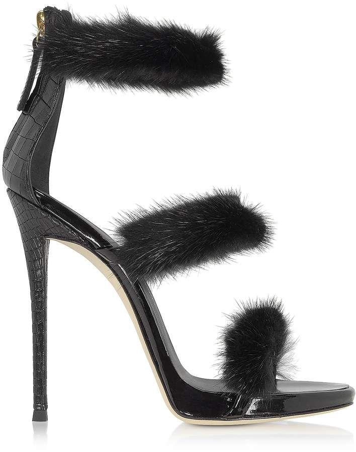 030119da20cb Giuseppe Zanotti Black Patent and Croco Embossed Leather High Heel Sandals w  Fur  GiuseppezanottiHeels
