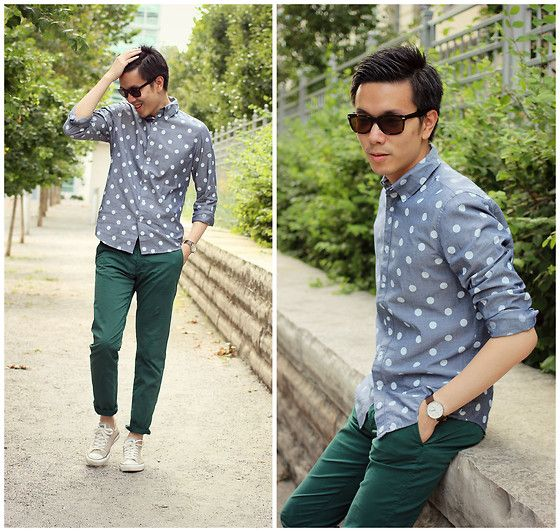 Joe Fresh Chambray Shirt, Warby Parker Wayfarer Sunglasses, H Chino Pants, Converse Sneakers