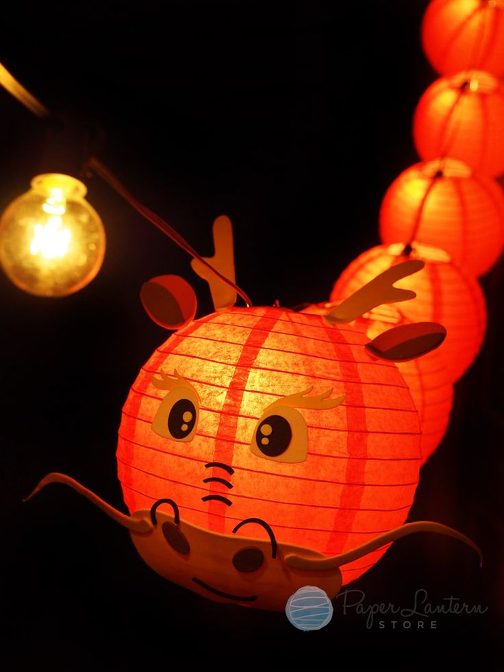 8 chinese new year red dragon paper lantern string light combo kit 12 ft expandable black cord - Chinese New Year Lantern