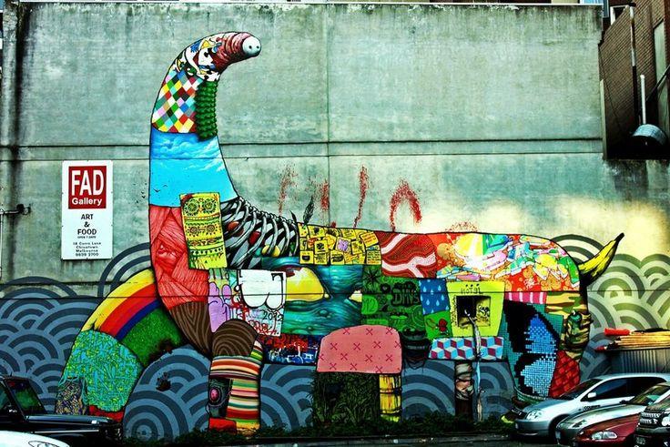 Coloured Panel Dinosaur - Melbourne #GraffitiArt #Melbourne #StreetArt