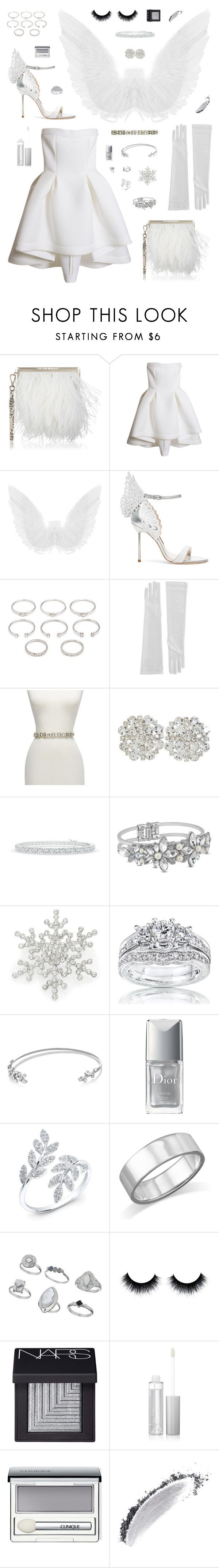 """""""Snow Angel Halloween Costume"""" by belenloperfido ❤ liked on Polyvore featuring Jimmy Choo, Parlor, Sophia Webster, Forever 21, GUESS by Marciano, Matthew Williamson, R.J. Graziano, Kobelli, Ryan Storer and Christian Dior"""