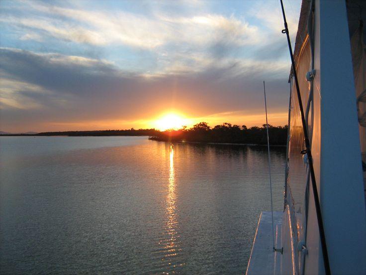 #Sunset on the Water.  #Goldcoast #houseboat #coomerahouseboats #holiday #holidays #boating #fishing #Houseboating