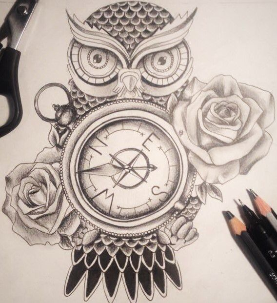 Owl compass and roses tattoo