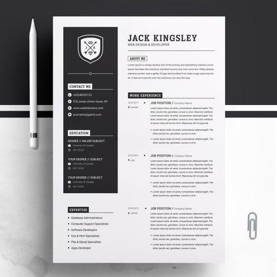 Minimalist Resume Cv Design Template Ms Word Apple Pages Etsy In 2020 Cv Design Template Minimalist Resume Creative Resume Templates