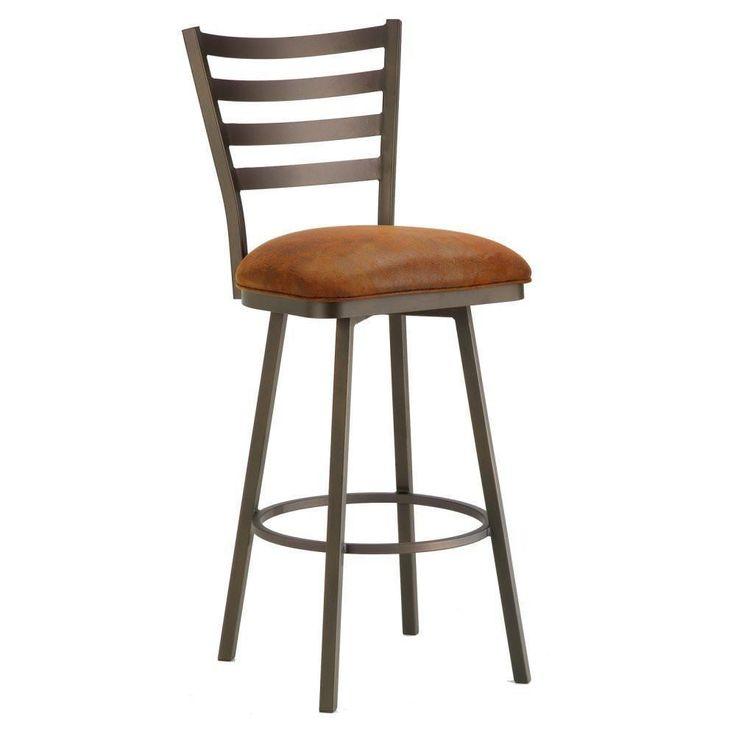 "Iron Mountain 5403330 Tioga swivel Bar Stool 30"" Seat Height w/ Mayflower Cocoa Fabric - Inca/Bronze"