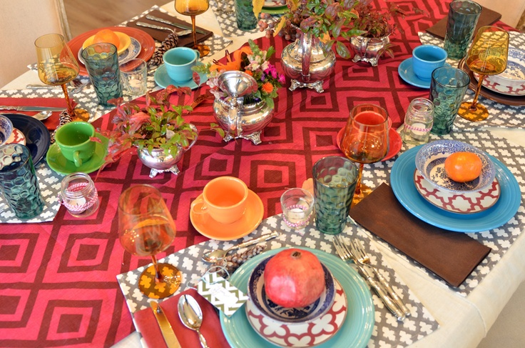 Boho Thanksgiving table with Willow House red portico plates! Love it! Get them at candacemc.willowhouse.com