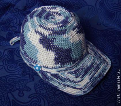 Кепка бейсболка летняя вязаная крючком для мальчика - абстрактный,кепка