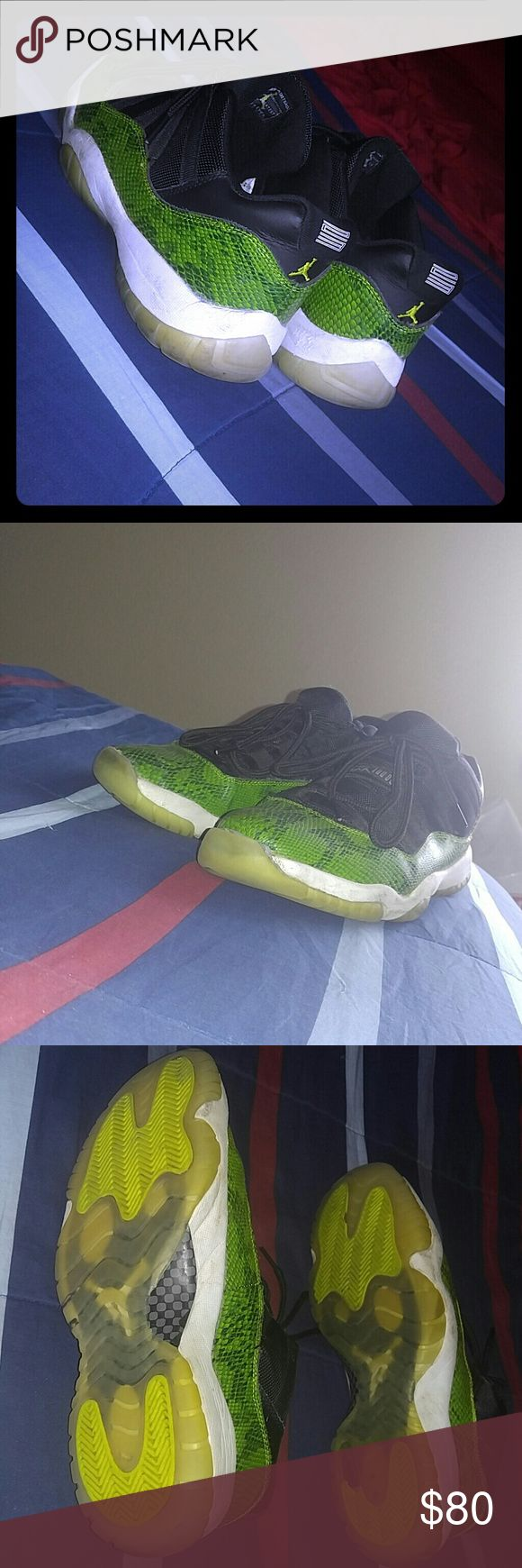Authentic Jordan 11s (snakeskin edition) Green and black Jordan Snakeskin 11s Originally $220 Currently $80 Trading and pricing are both negotiable Jordan Shoes Sneakers