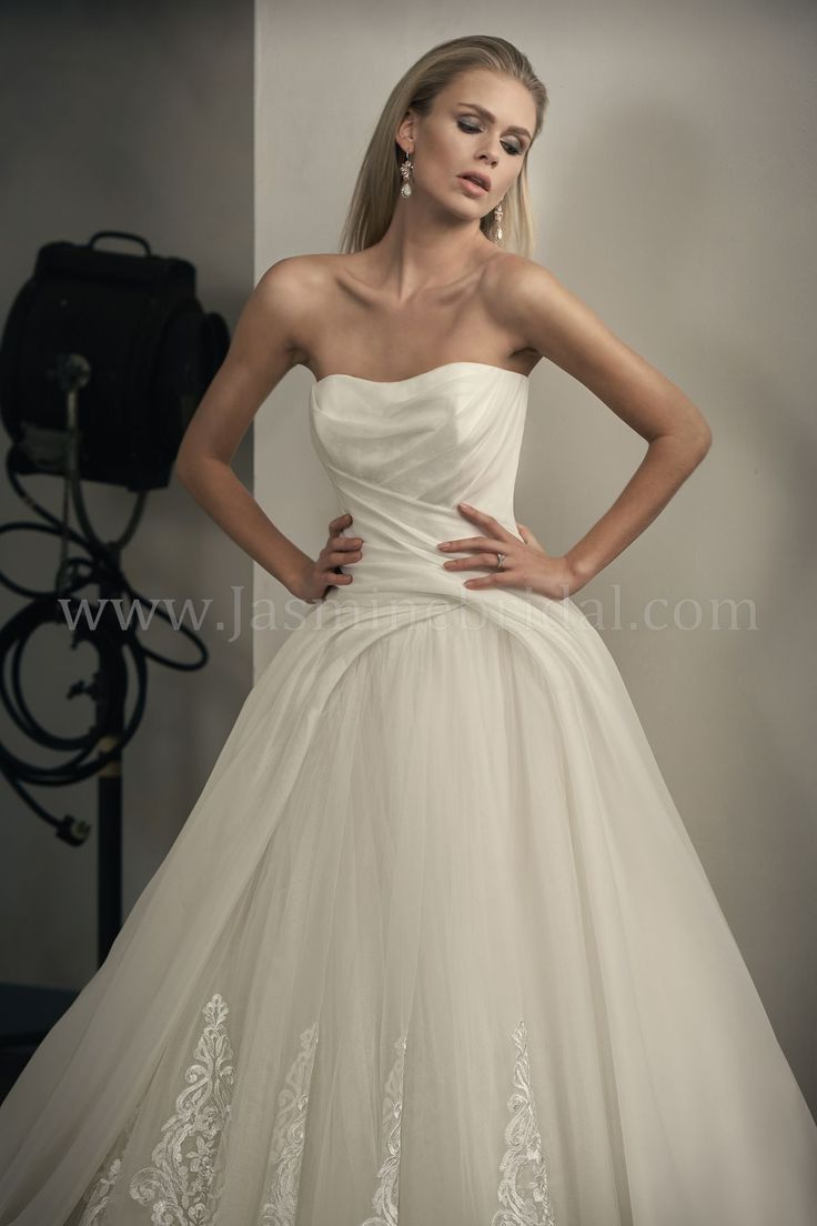 T192064 Sweetheart Strapless Organza Ball Gown Wedding Dress with Embroidery Lace