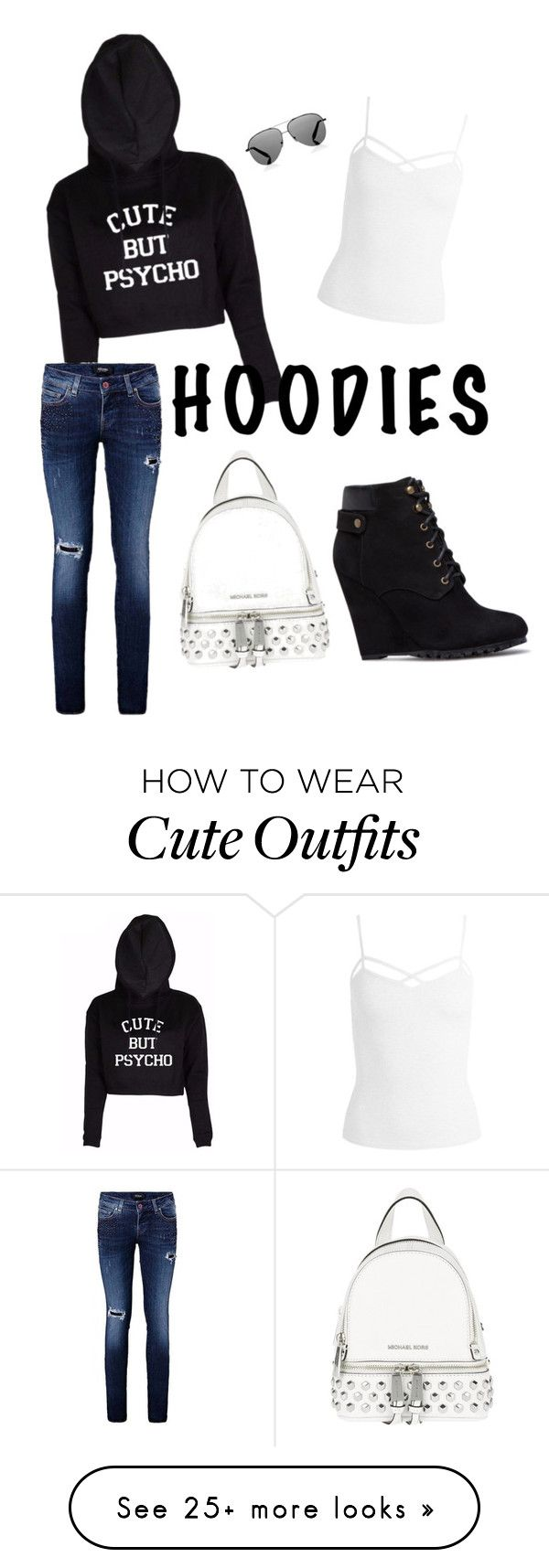 """cute fall outfit"" by georgiastarnes on Polyvore featuring Sans Souci, Michael Kors, Victoria Beckham and Hoodies"