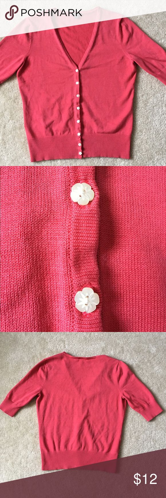 Ann Taylor Pink Coral 3/4 Sleeve Cardigan Used M Medium Ann Taylor 3/4 Sleeve pink/coral cardigan with cream colored flower buttons. Ann Taylor Sweaters Cardigans