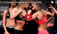 UFC 190 Weigh-Ins: Ronda Rousey vs. Bethe Correia This vid showing a fierce staredown between UFC headliners Ronda Rousey and Bethe Correia during weigh-ins back in July, is still being watched and has brought in almost 7M views. Rousey went on to fight Bethe Correia on August 1, 2015 in Brazil, winning the bout by...