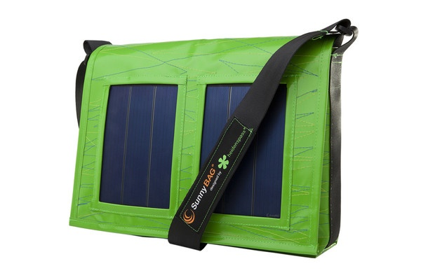 SunnyBAG Faction Grasshopper Green - solar power messenger bag that charges your mobile devices while you go! Made from recycled truck tarpaulins and seat belts :)