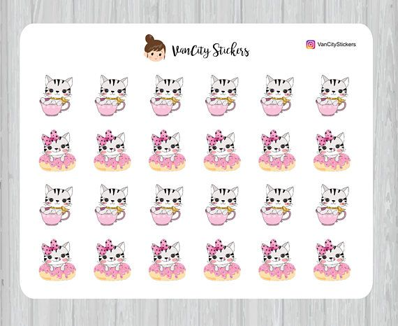 Coffee and Donuts Stickers Donut Stickers Cat Tea Cup