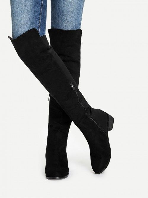 92b899100f9 SheIn Casual Round Toe Knee High Side zipper Black Knee Length Plain Boots