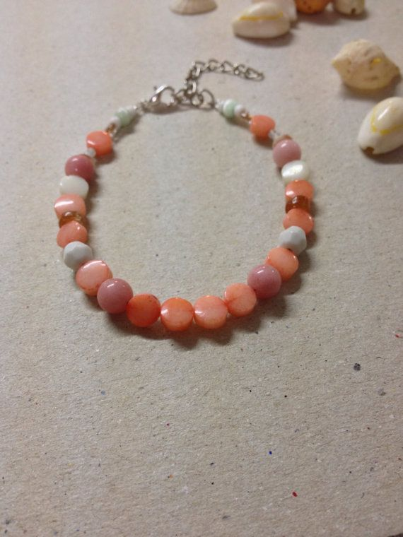 Delicate pink coral and shimmering sunstone by Jameesbitsandbobs