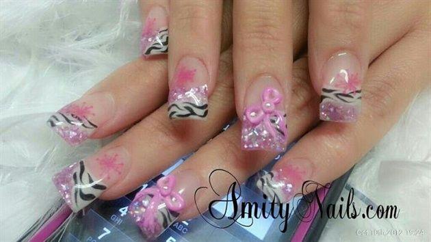 Pink Zebra 3-D bows by amity4life - Nail Art Gallery nailartgallery.nailsmag.com by Nails Magazine www.nailsmag.com #nailart