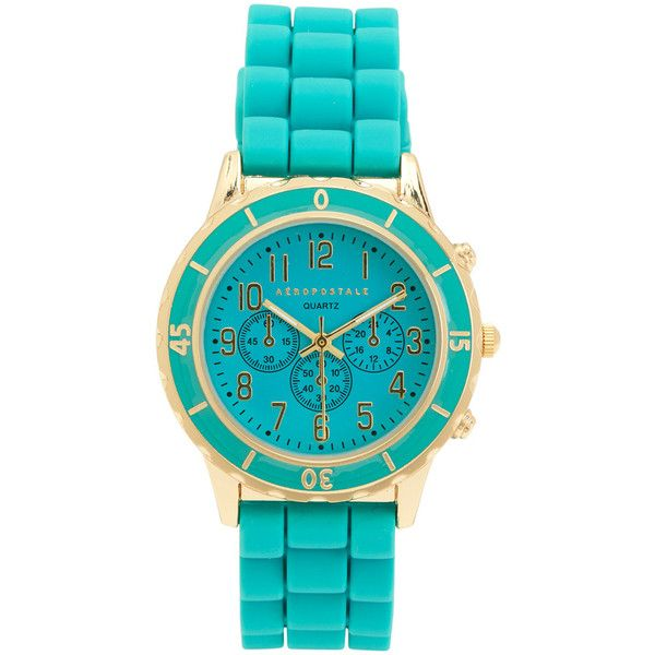 Aeropostale Solid Rubber Watch ($12) ❤ liked on Polyvore featuring jewelry, watches, bermuda turquoise, dial watches, aeropostale jewelry, rubber watches, polish jewelry and aeropostale watches