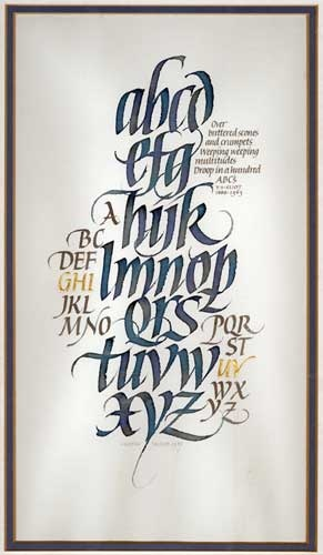 Calligraphy Alphabet by Martin Jackson; 1987; Ink, gold leaf on paper; 33 cm x 18.5 cm