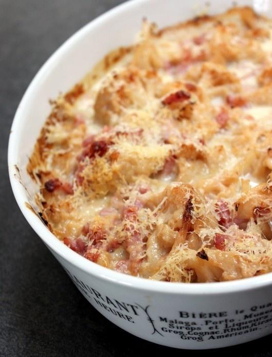 Gratin de chou-fleur sauce lardons & Parmesan