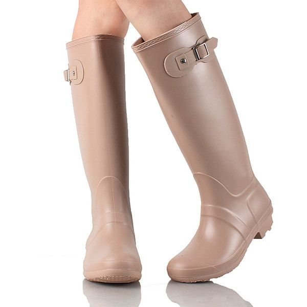 WEST BLVD Nude Seattle Rain Boot ($23) ❤ liked on Polyvore featuring shoes, boots, mid-calf boots, mid calf rain boots, slip on shoes, rain boots, wellington boots and rubber rain boots