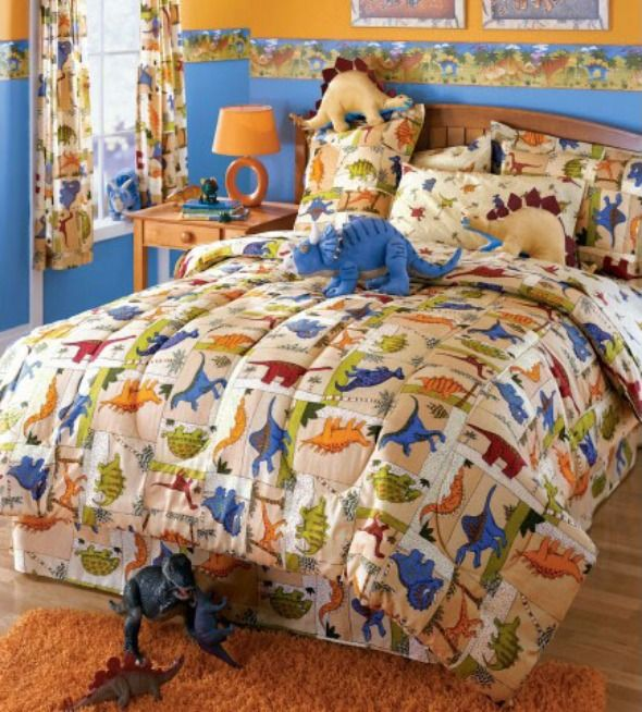 And Colorful Kids Room Design With Dinosaurs Bedding Motif ~ HeimDecor