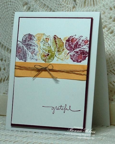 "Stamping with Klass: Happy Autumn **** SU ""French Foliage"" -- another beauty created by Bonnie Klass."