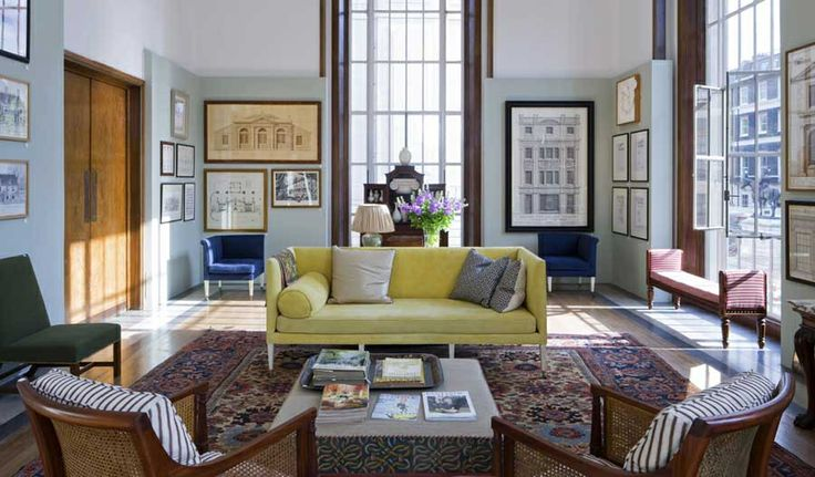 Room of the Day ~ chic yellow sofa, blue corner chairs, lots of art, striped cushions on chairs - fun & fresh English country ~ j'adore Ben Pentreath 3.29.2014