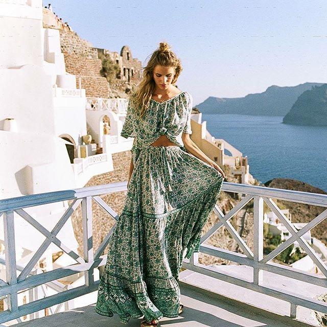 Kombi Flutter Top & Maxi Skirt in Sage | Spell Byron Bay