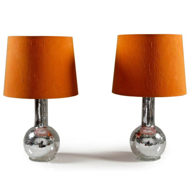 Pair of table lamps in broken glass and orange shades by Luxus